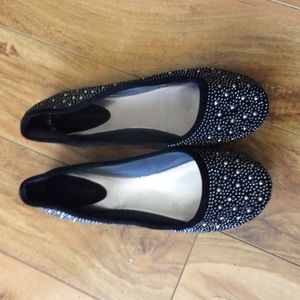 New Black  flat shoes with rhinestones